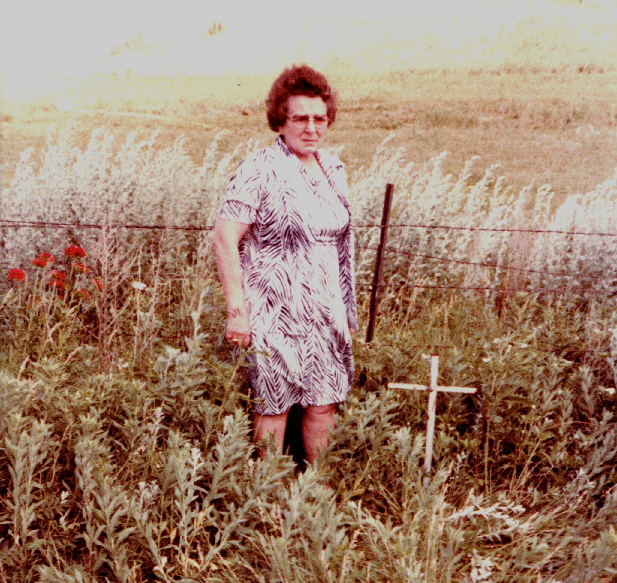 Martha Salway at Karl Helms gravesite
