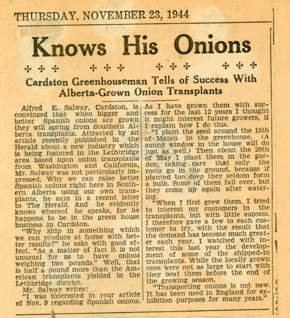 Alfred Salway knows his onions